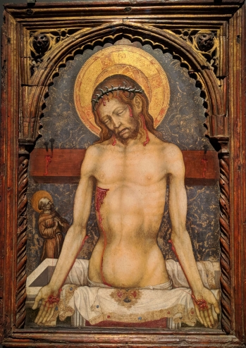 Man of sorrows by Michele Giambono. About 1430.
