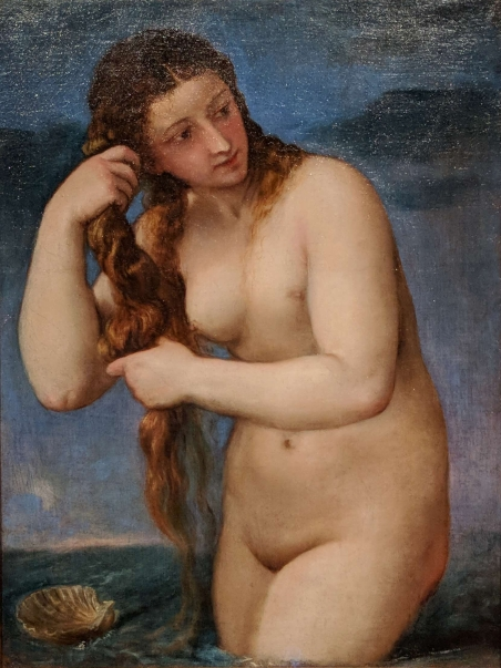Venus rising from the Sea by Titian (Tiziano Vecellio). About 1520.