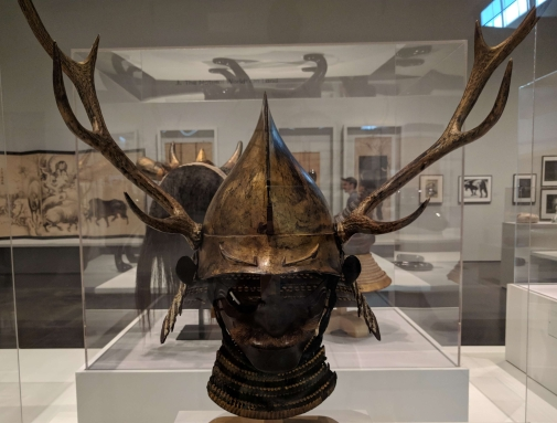 Eboshi-shaped helmet with deer antlers and half mask. Muromachi to Momoyama perdiod, late 16th century.