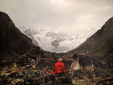 Matthieu Ricard, Monk before Jomolhari glacier on th Jango Thang Plain, 2007, Thimphu , Bhutan